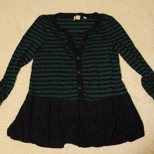 Anthropologie 9-H15 Blue & Green XS Stipped Top